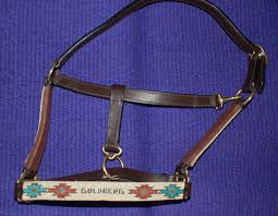 handmade beaded leather halter
