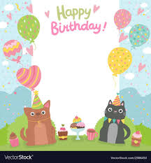 Happy Birthday Card Background With Dog And Cat Vector Image On
