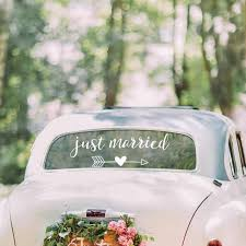 Just Married Vinyl Lettering Decals Wedding Car Decor Removable Stickers Rustic Simple Wedding Decor Decal G337 Wall Stickers Aliexpress