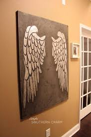 angel wings stencil with silver leaf on