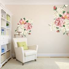 Romantic Floral Wall Decal Pink Peony Flower Home Decor Living Room Bedroom Elegant Well Wall Art Prints Wall Stickers Peel And Stick Girls Thefuns On Artfire