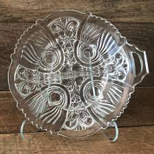 serving tray with handle clear glass
