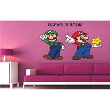 Mario And Luigi Super Mario Bros One Up Star Wall Art Design Customized Name Wall Decal
