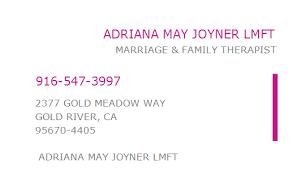 1619088952 NPI Number   ADRIANA MAY JOYNER LMFT   GOLD RIVER, CA   NPI  Registry   Medical Coding Library   www.HIPAASpace.com © 2020