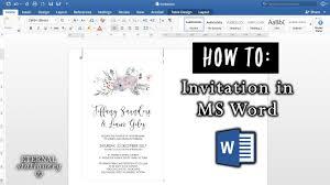 an invitation in microsoft word