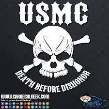 Marines Skull Death Before Dishonor Car Window Decal Sticker