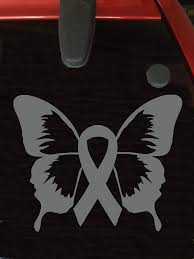 Amazon Com Gray Ribbon Butterfly Window Decal Brain Tumor Brain Cancer Allergies Aphasia Asthma Diabetes Parkinson S Everything Else