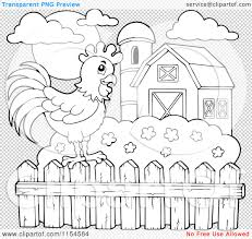 Cartoon Of An Outlined Rooster On A Farm Fence Royalty Free Vector Clipart By Visekart 1154584