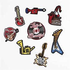 Guitar Sax Fabric Embroidered Patch Cap Clothes Stickers Bag Sew Iron On Applique Diy Apparel Sewing Clothing Accessories Bu170 Iron On Applique Iron Onembroidered Patch Aliexpress