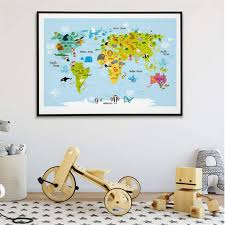 Amazon Com Mxsnow World Map Animals Poster Kids Room Decor Canvas Painting Baby Nordic Cartoon Posters Modern Wall Art 50x70cm Without Frame Posters Prints