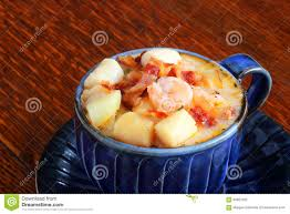 Seafood Chowder Garnished With Bacon ...