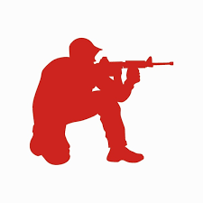 2pcs Sticker Crouched Soldier Ready To Fire Car Sticker Creative Gun Decorative Car Decal Black Red White Silver Wish