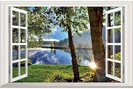 Amazon Com Dnven 3d Fake Window Wall Decals Lake And Sunshine Window Scenery Wall Stickers Faux Window Frame Decor Removable Vinyl Murals For Bedroom 24 X 16 Inches Kitchen Dining