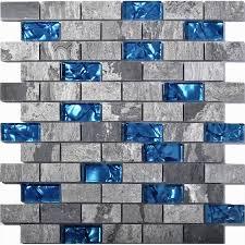 teal blue glass backsplash tiles gray