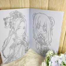 Tranh tô màu cổ trang in hình anime chibi tập bản thảo tranh phác họa manga  10 tờ A4