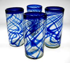 drinking glasses blue swirl 20oz set