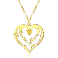 personalized heart necklace with 4