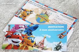 Invitation Super Wings Billet D Avion Invitaciones Fiesta