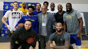 Champions unite: Tommie Smith pays the Warriors a visit