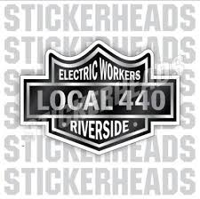 Black Biker Badge Custom Text Ibew Electrical Electric Sticker Stickerheads Stickers