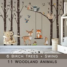 Woodland Nursery Wall Decor 6 Birch Trees Fox Friends Wall Decal Motomoms Decor