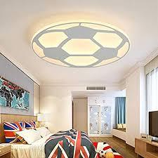 Litfad Soccer Patterned Dimmable Led Ceiling Light Fixture In White For Boys Bedroom Kids Room Children Bedroom Amazon Com