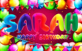 تحميل خلفيات عيد ميلاد سعيد سارة 4k الملونة بالون الإطار سارة