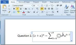 word 2010 equation editor
