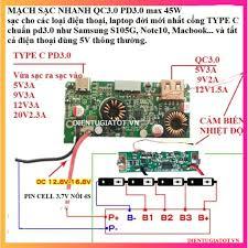 Mạch sạc nhanh QC3.0 PD3.0 max 45W cho laptop và điện thoại đầu ...