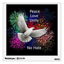Peace Love Unity Dove Wall Decal Zazzle Com