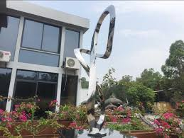 style stainless steel sculpture outside