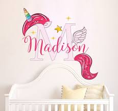 Name Wall Decal Unicorn Wall Decal Full Color Decals Etsy
