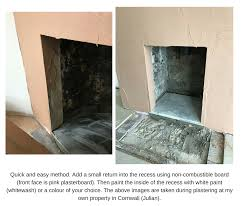 lining a fireplace recess with smooth