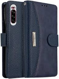Blue Lokaka For Sony Xperia Xz1 Carry Hand Rope Phone Leather Wallet Folding Flip Cases Protective