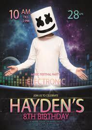 Marshmello Dj Electronic Party Birthday Invitation Plantillas