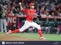 Anaheim, USAApril 6, 2018: Los Angeles Angels relief pitcher Noe ...