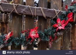 Christmas Decoration Flower And Tree On Wood Fence Stock Photo Alamy