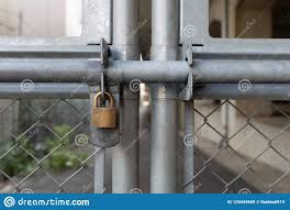 Chain Link Fence And Metal Door With Lock Stock Image Image Of Cage Forbidden 129449689