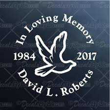 In Memory Dove Decal In Memory Dove Car Sticker Great Prices