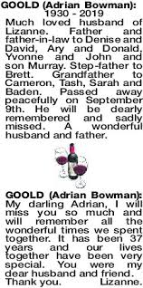 GOOLD Adrian | Obituaries | The West Announcements