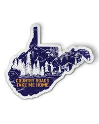 West Virginia Country Roads Take Me Home Permanent Waterproof Sticker Thread Grain