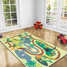 Cartoon Animals Floor Carpet For Kids Room Cute Green Forest Bedroom Carpet Rugs Boys Girls Play Mat Bedside Mat Baby Room Carpet Aliexpress