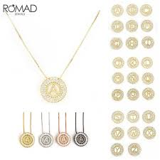 romad cz crystal initial necklace woemn