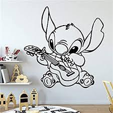 Amazon Com Stitch Plays The Guitar Wall Art Vinyl Sticker Lilo Stitch Wall Decal Decor For Home Baby Nursery Kids Room Decoration 42x42cm Baby
