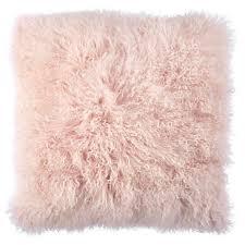 light pink mongolian fur pillow z