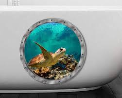Amazon Com Bibitime 11 X 11 Fake Round Window 3d Sea Turtle Wall Decal For Bathroom Glass Door Bathtub Washer Nursery Bedroom Kids Room Decor Cartoon Animal Vinyl Sticker Home Kitchen