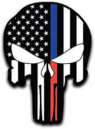 Amazon Com More Shiz Blue Red Line Punisher Skull Flag Vinyl Decal Sticker Car Truck Van Suv Window Wall Cup Laptop One 6 Inch Decal Mks0658 Automotive
