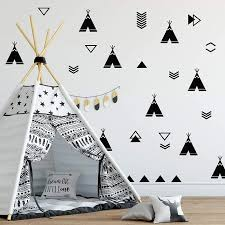 Nordic Tents Wall Vinyl Decal Tent Sticker Nursery Adhesive Tribal Teepee For Kids Baby Nordic Bedroom Home Decoration B162 Wall Stickers Aliexpress