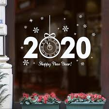 New Year 2020 Clock Shape Window Wall Sticker Christmas Home Decor Gifts Transparent Glass Vinyl Sticker Xmas Window Glass Decal Aliexpress