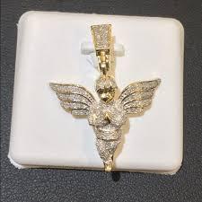 micro pave diamond 10k guardian angel